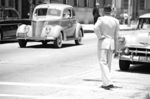 vintage car and man move set Baltimore