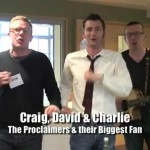 David Tennant and Craig and David of The Proclaimers standing in a line dancing