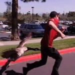 Goose attacks man in slow motion