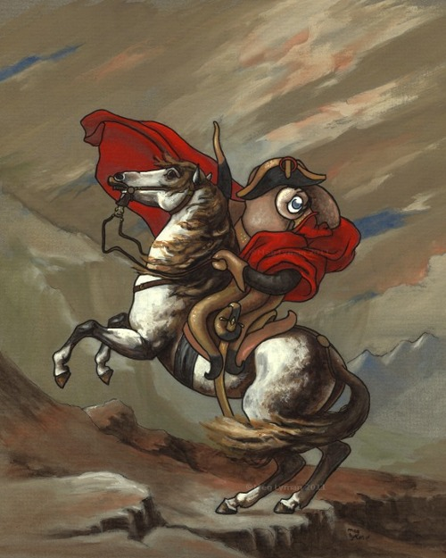Octopus Napolean in red cape sitting on a rearing horse