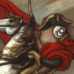 close up of Napolean octopus in red cape on horse