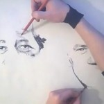 two hands with pencils drawing two portraits