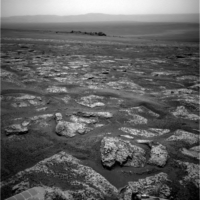 Surface of planet Mars near Endeavour Crater rocks and dust