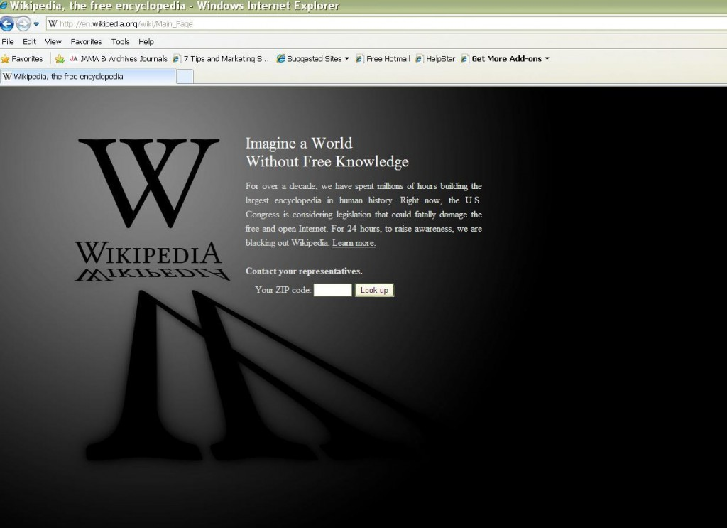 Wikipedia's blackout page to protest censorship, SOPA, and PIPA