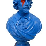 Bust of Shakespeare painted bright blue with red flash over eye.