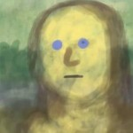 primitive looking unfinished Mona Lisa finger painting with blue dots for eyes