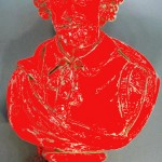 poorly colorized red bust of William Shakespears