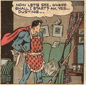vintage Superman comic strip Superman in apron