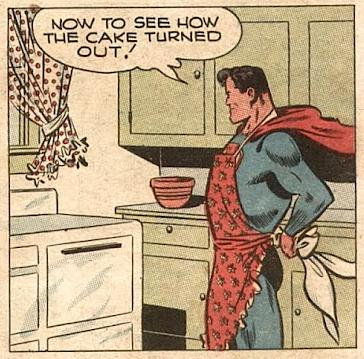 Vintage Superman comic Superman in an apron in front of an oven