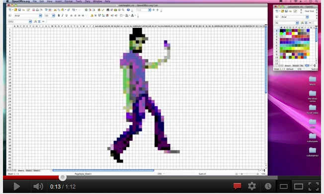 Pixelated picture of a dancing man