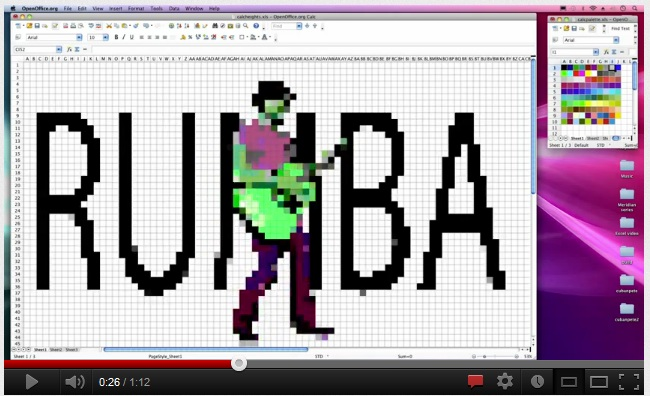 Pixelated picture of man playing guitar with word Rumba behind him