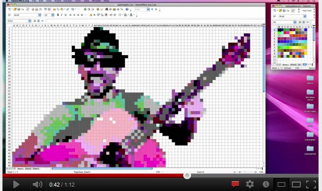 Pixelated picture of man in a hat playing guitar.