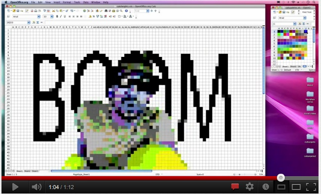 Pixelated picture of man singing with word boom behind him.