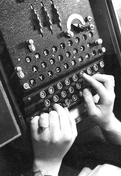Hands on Enigma Machine keyboard 1943