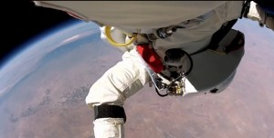 POV shot Felix Baumgartner space jump