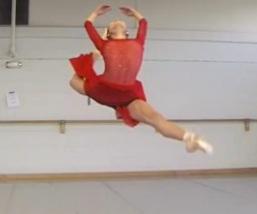 Ballete dancer performs dance move