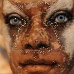 Human like face of a Kate Clark sculpture