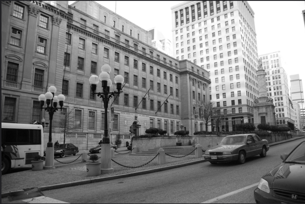 Courthouse in black and white
