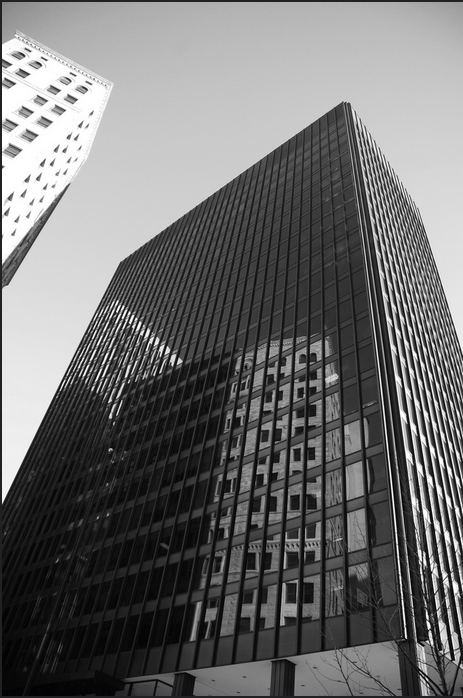 Building with reflective windows in black and white