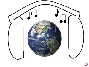 Earth listening to space sounds on headphones