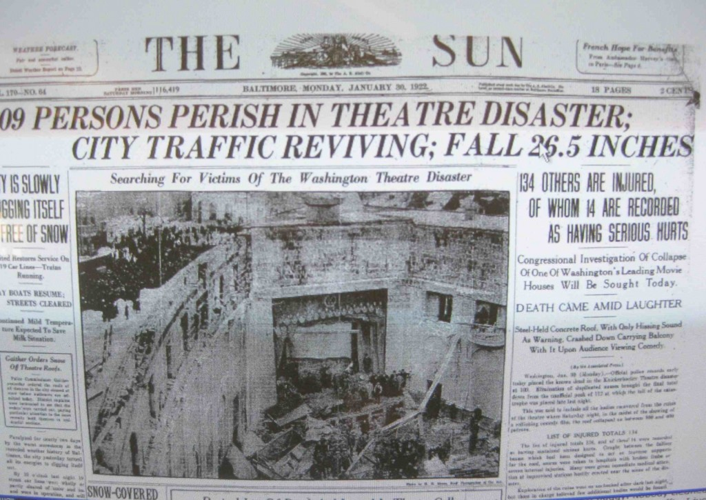 Front page of Baltimore Sun announcing Kickerbocker Theater roof collapse under weight of snow from the 1922 storm that was later named after the disaster.