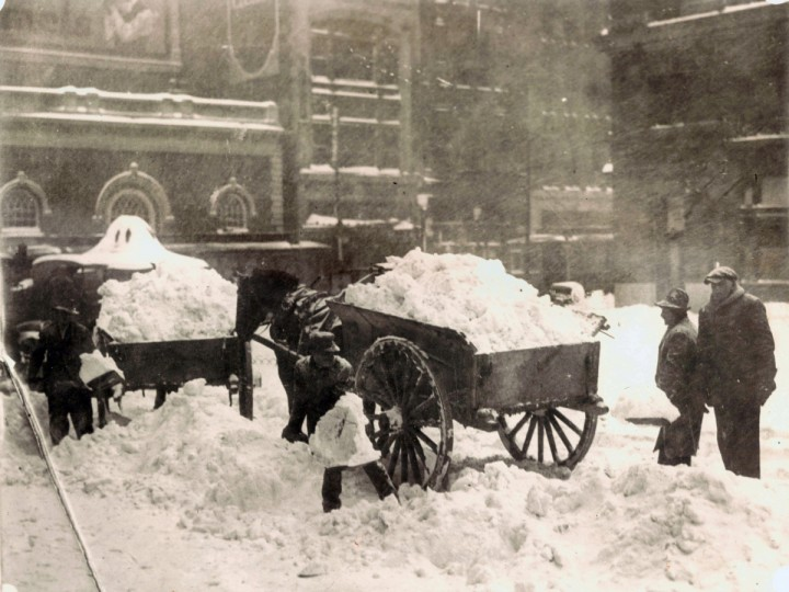 Historic Baltimore Blizzards: Feb. 13, 189Snow being loaded into horse drawn carts.