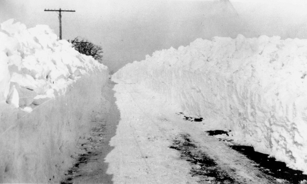 BaltimorePlowed snow creates walls along a road following the storm in 1922