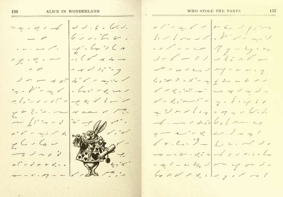 Another page from Gregg's shorthand version of Alice In Wonderland