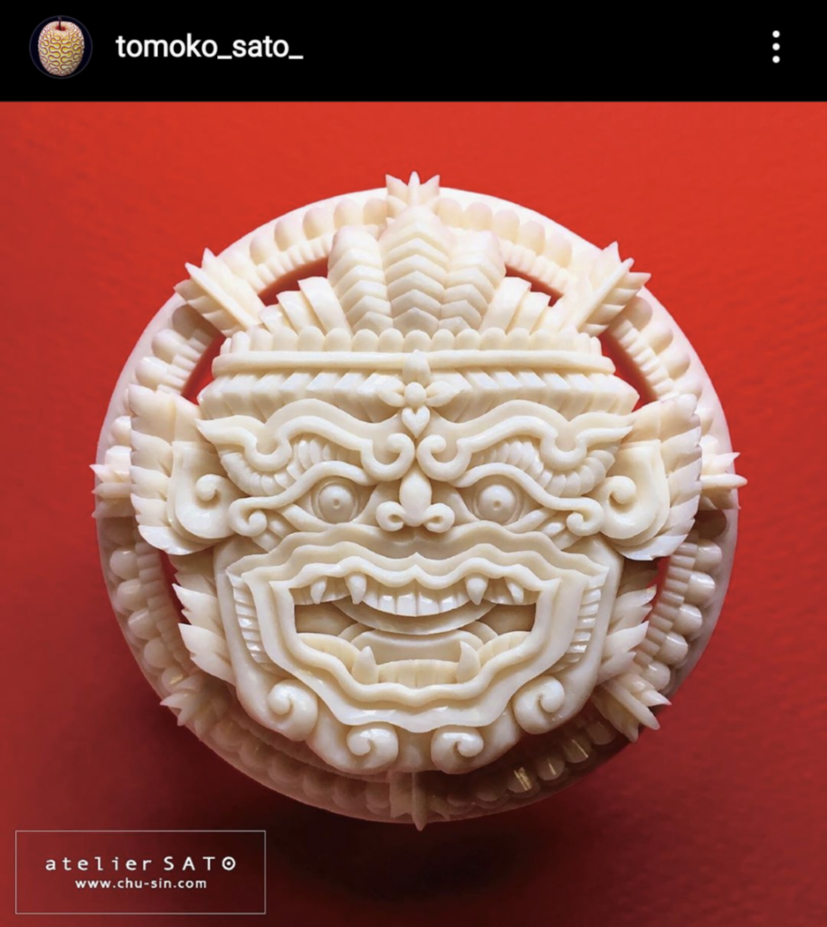 White dragon face soap carving by Tomoko Sato