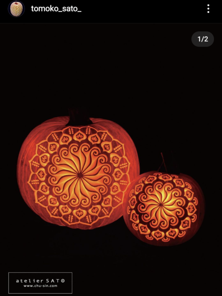 Fancy geometric pumpkin carvings by Tomoko Sato